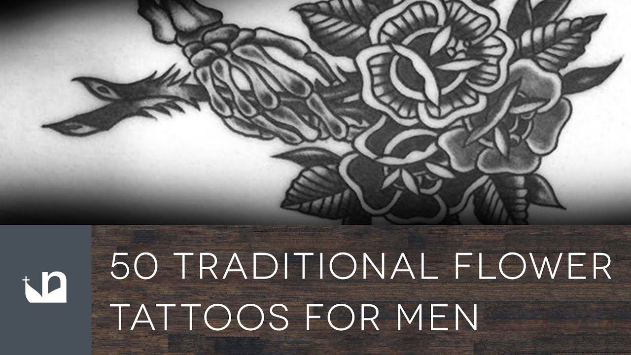 50 Traditional Flower Tattoo Designs For Men – Old School Floral Ideas