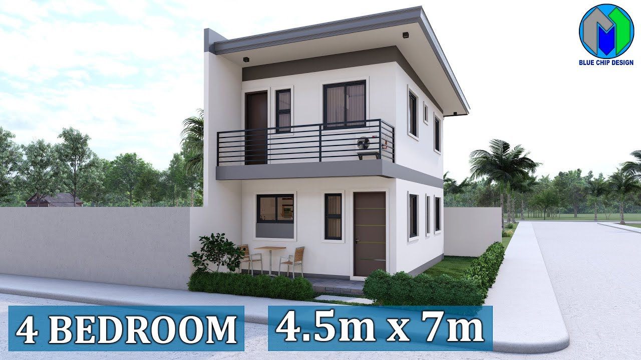 Small Two Storey House Design (4.5x7m) Apartment