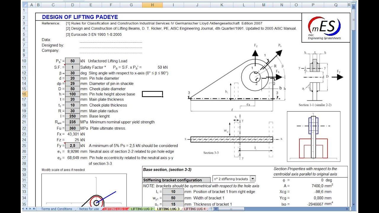 Lifting Lug Design V2 (xls)  Mes  No Audio Youtube
