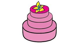 How to Draw a Cake Easy step by step / Как нарисовать торт