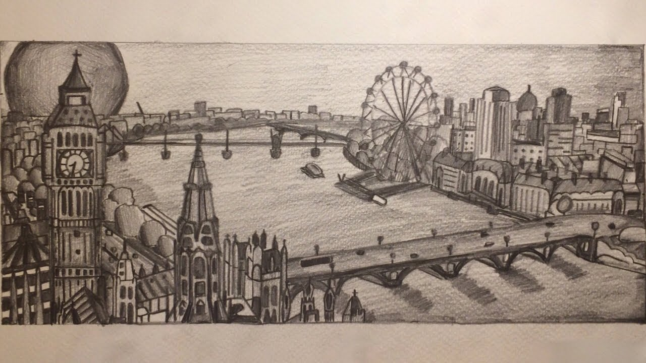 Drawing the london city skyline with hb pencil