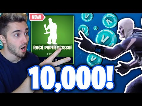 PLAYING MY FORTNITE CHARACTER IN ROCK, PAPER, SCISSORS FOR 10,000 V-BUCKS!!! - (NEW EMOTE UPDATE!)