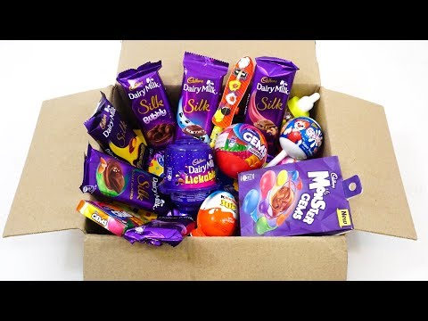 BOX OF CANDIES | KINDER JOY ,DAIRY MILK SILK , COOKIE CAKES AND OTHER CANDIES OPENING