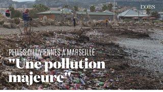 Des plages jonchées de détritus au lendemain des fortes pluies à Marseille