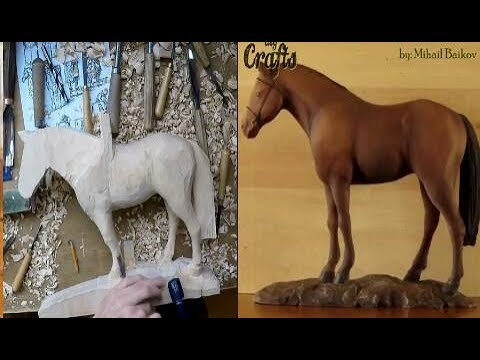 Carving wooden horse Sculpture