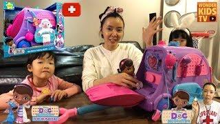 병원놀이 장난감! 디즈니 꼬마의사 닥 맥스터핀스 말하는 모빌카트 병원놀이! Doc McStuffins doll Ambulance cart toys