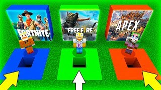 😱🕳️ DO NOT CHOOSE THE EQUIPPED NEEDLE! APEX, FREE FIRE and FORTNITE in MINECRAFT