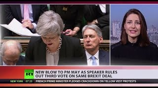 Another setback to May's Brexit plan as speaker rules out third vote on the same deal