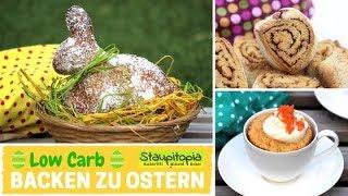 3 geniale Low Carb Backrezepte für Ostern: Osterhasen, Zimtschnecken & Möhren-Tassenkuchen backen