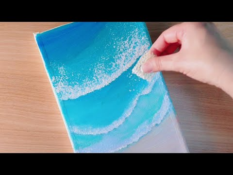 Ocean Waves Acrylic Painting #85/Sponge Painting Techniques/Acrylic Ocean for Beginners