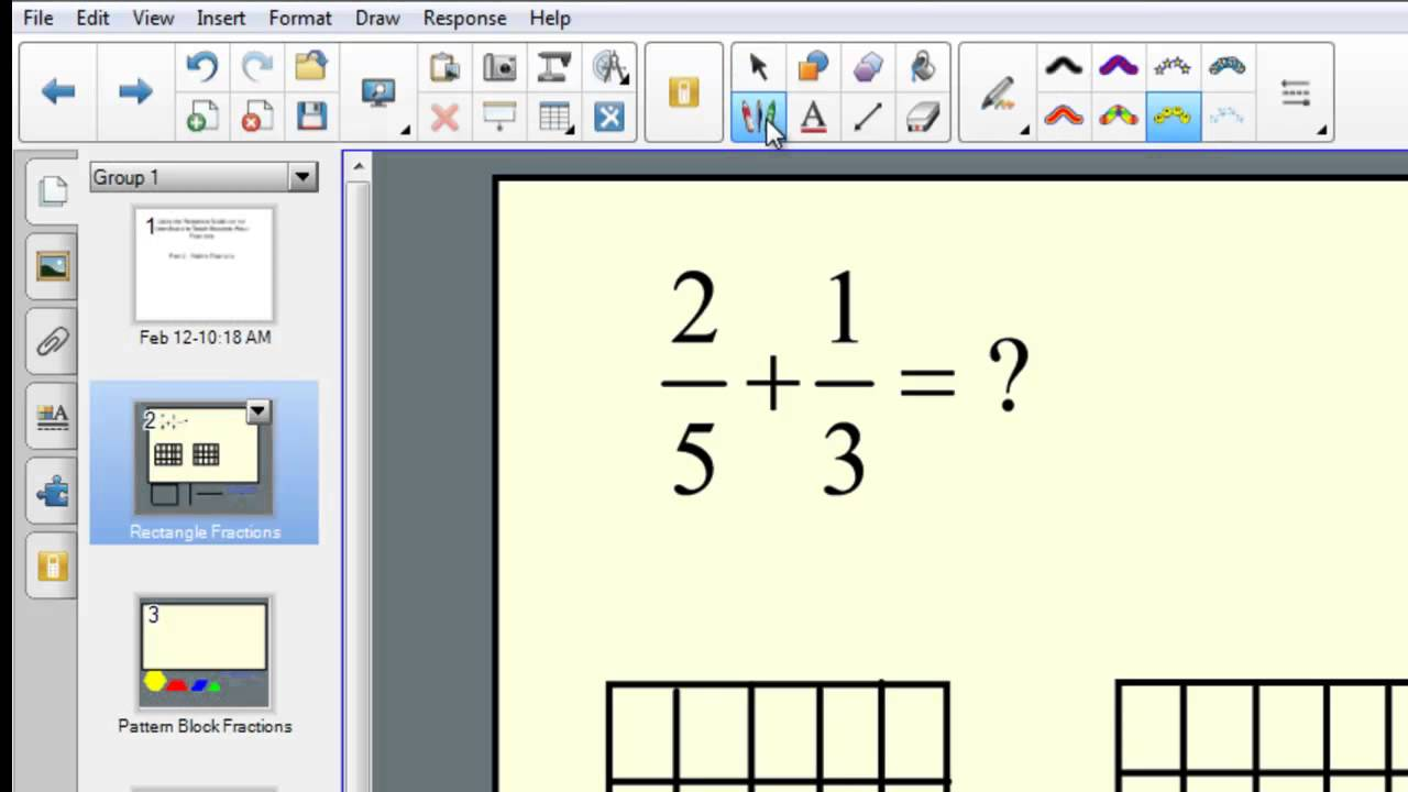 Fractions using the rectangle model on the smartboard addition fractions using the rectangle model on the smartboard addition youtube ccuart Gallery