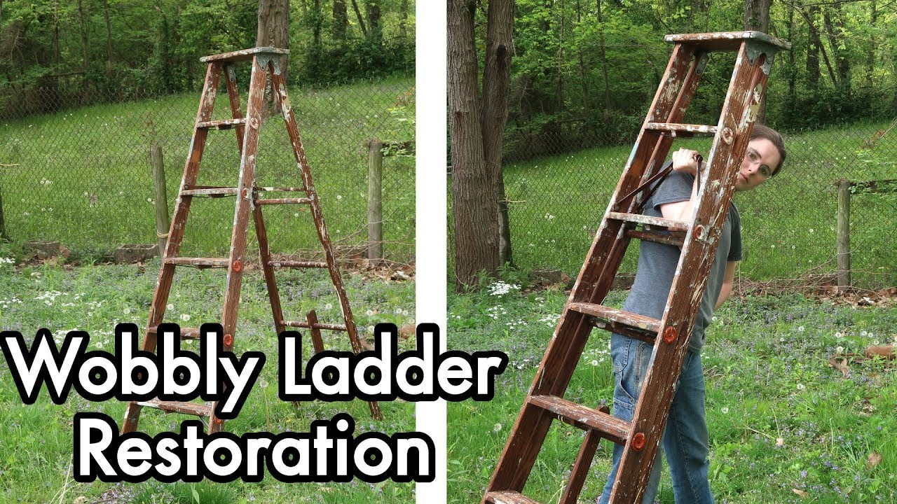 Quick Restoration 01 Fixing An Old Wooden Ladder Tightening Linseed Oil Maintenance