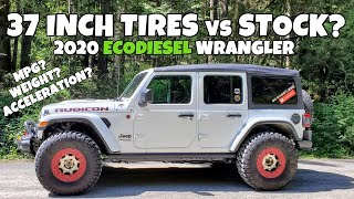 37 inch Tires vs Stock on EcoDiesel 2020 Jeep Wrangler JL Rubicon - Fuel Economy & Highway Driving