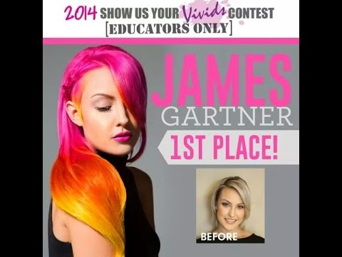 Pink, Orange, Yellow Neon Balayage Ombre Hair Color, by Freelance Hair Artist James Gartner