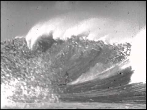 Surfing Big Waves in Makaha Bay in 1950s