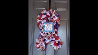 diy ribbon shaped wreath for 4th of july