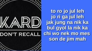 K.A.R.D - DON'T RECALL (EASY LYRICS)