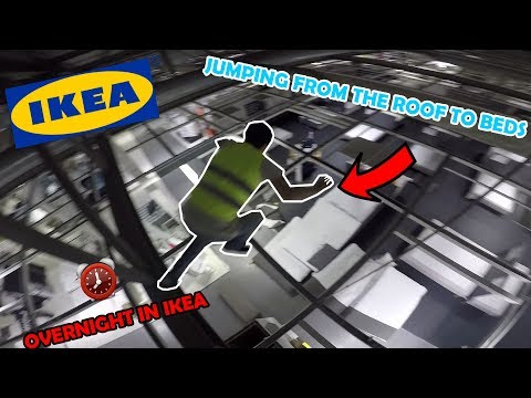 PARKOUR OVERNIGHT IN IKEA *WE JUMPED OFF ROOF TO BEDS*