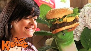 Funniest Burger Attack - Just Kidding Hidden Camera Prank