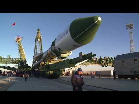 A Soyuz 2.1a with Progress MS-07 isTransported to the Launch Pad at Baikonur Cosmodrome