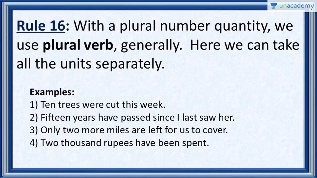 Subject Verb Agreement Rule 16 Usage Of Plural Number Quantities