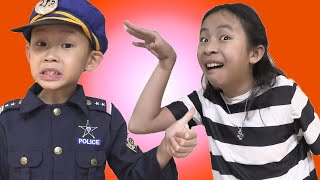 Pretend Play Police Officer Justin Chase Chloe the Thief on Halloween