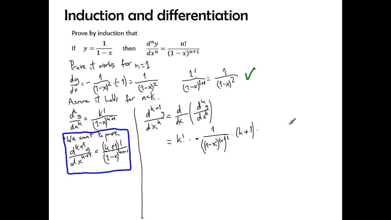 Differentiation properties, proof by induction - YouTube