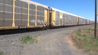 Union Pacific RR #5952 Westbound autorack @ track speed approaches LaGrande, OR 6/30/2013