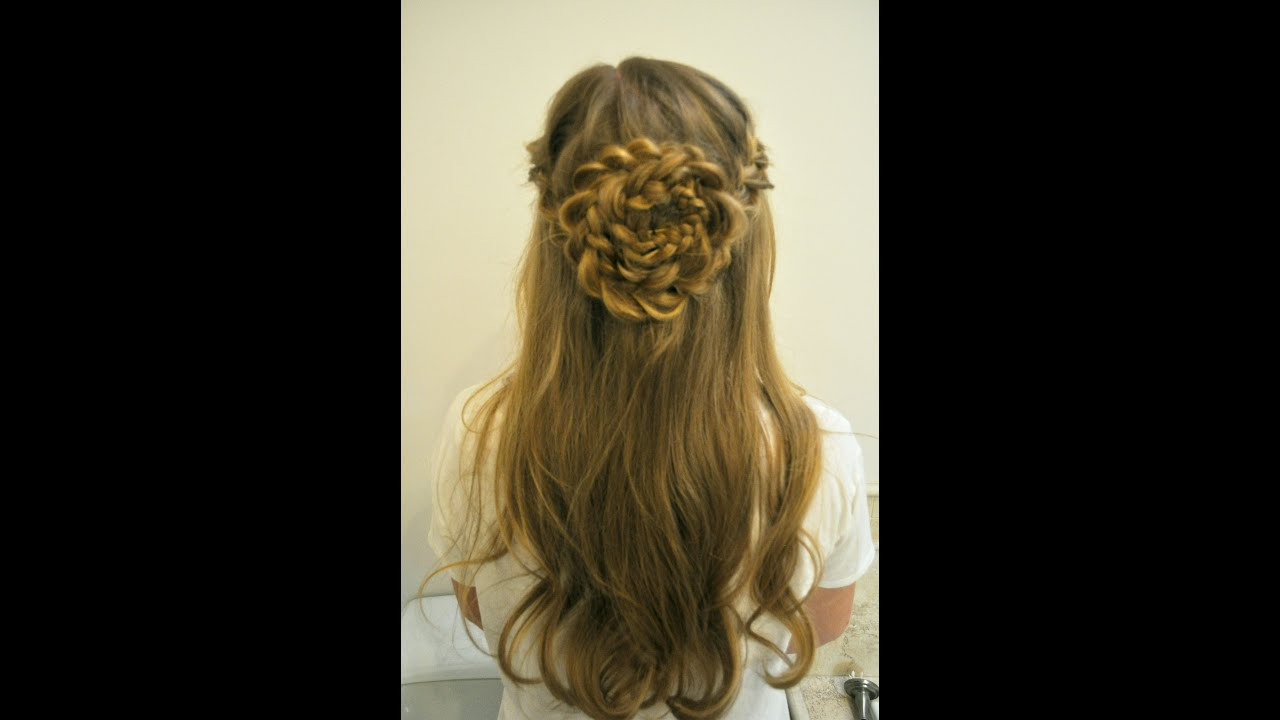 Tutorial: Flower Braid Hairstyle  YouTube - Communion Hairstyles