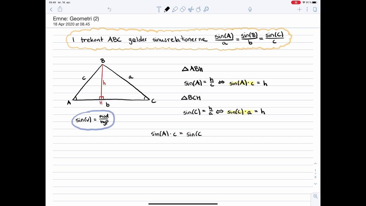 Matematik C-niveau Eksamen: Geometri: Sinusrelationerne