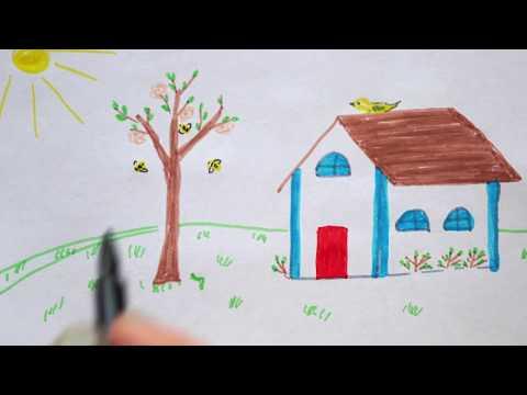 haus-zeichnen-im-frühling