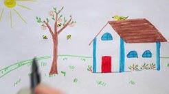 Wie zeichnet man ein Haus im Frühling - How to draw a house / Spring - как нарисовать дом весной