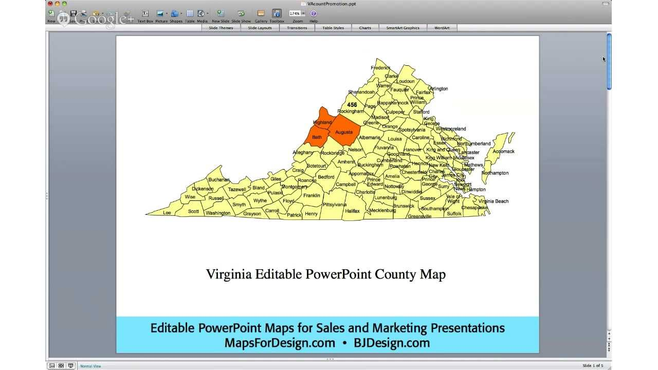 Editable Us County Map Editable Virginia County Powerpoint Map For Building A Sales Or