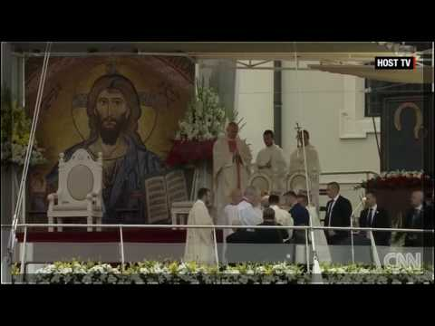 Pope Francis falls during service