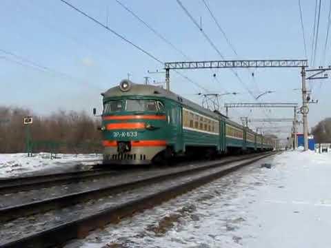 ЭР2К-633 На перегоне Новосибирск-Западный-Обь Видео 20 марта 2009
