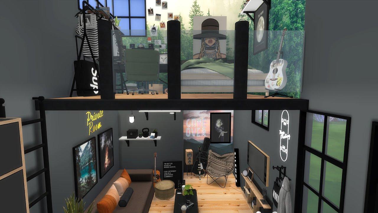 SINGLE GUYS LOFT   The Sims 4   CC Speed Build