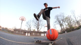Skateboarding basketball trick shots?!