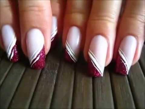Pink Side French With Glitters Różowy Skośny French Z Brokatem