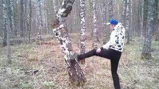 Прикол Каратист получил деревом по башке