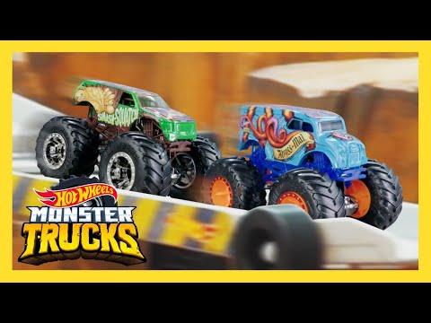 Monster Trucks vs. Cars | Epic Downhill Race! | Monster Trucks | Hot Wheels