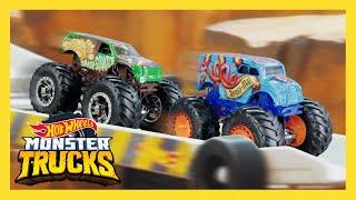 Monster Trucks vs. Cars   Epic Downhill Race!   Monster Trucks   Hot Wheels