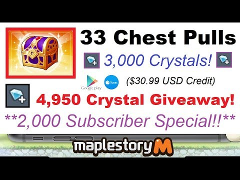 3,000 Crystals of Chests + 4,950 Crystal Giveaway! ($30.99 iTunes or Google Play) Maplestory M