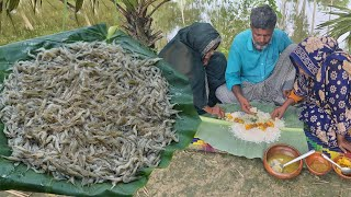 Eating Lunch With Mother Husband & Wife - Shrimp Bhorta - Shil Patai Chingri Vorta Baby Prawn Paste