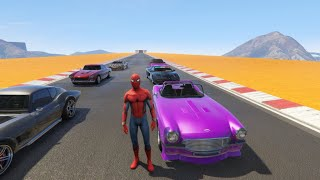 🕷️Spiderman Drives Classic Fast Sports Cars🏎️ - Kids Songs for Children🎵🧒🏻