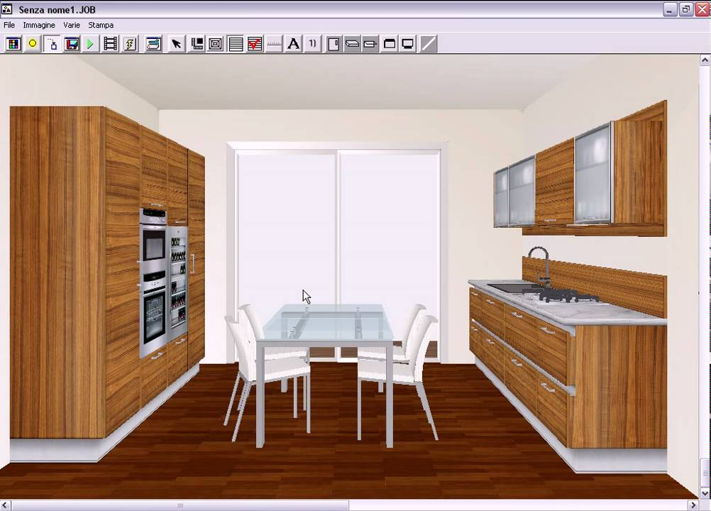 1 cucina moderna disegno pianta youtube for Disegnare cucina 3d gratis
