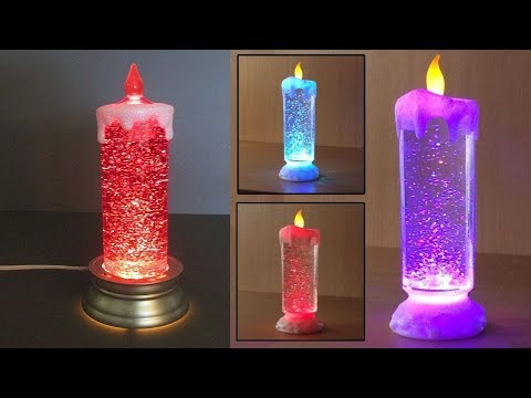 Auto Rotating Glitter Rechargeable Led Candle Cum Light Show