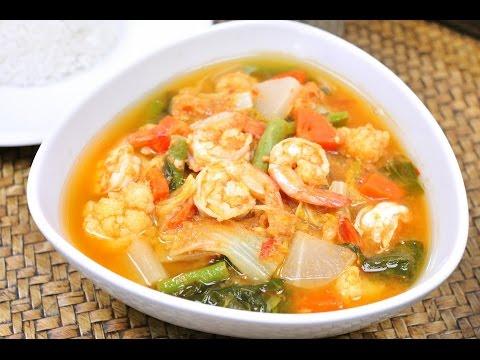 Sour Soup with Shrimp and mixed Veggies - Kaeng Som Kung แกงส้มกุ้งผักรวม