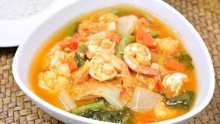 Sour Soup with Shrimp and mixed Veggies แกงสมกงผกรวม