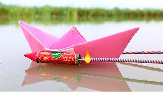 Diwali Rockets Attached On Boat   Will it Swim On Rocket Power?