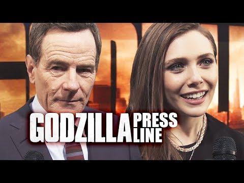 BRYAN CRANSTON, Elizabeth Olsen on the GODZILLA red carpet (with Dan Casey)